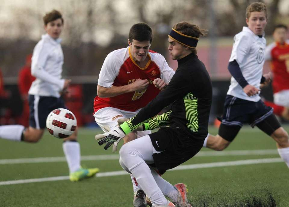 Canisius goalie Paul Burich saves an attack from