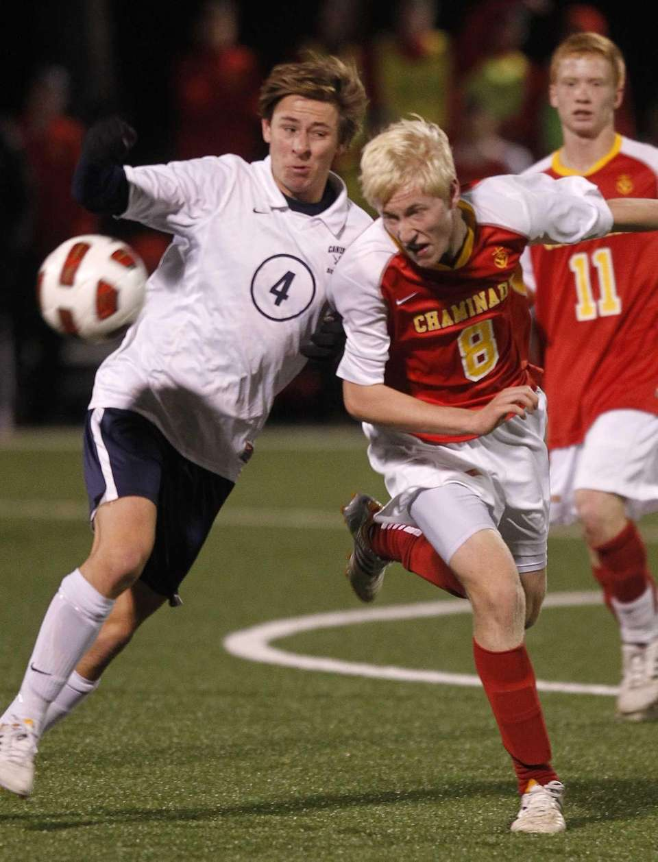 Chaminade's James Brady battles for the ball with