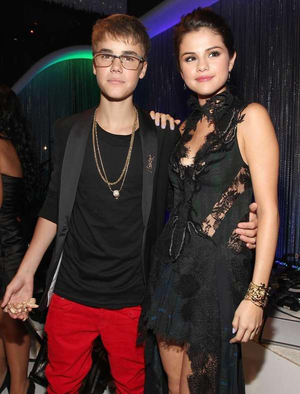 Singer Justin Bieber and actress Selena Gomez arrive