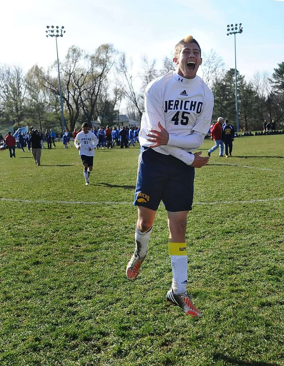 Jericho's Zachary Cohen celebrates following his team's victory.