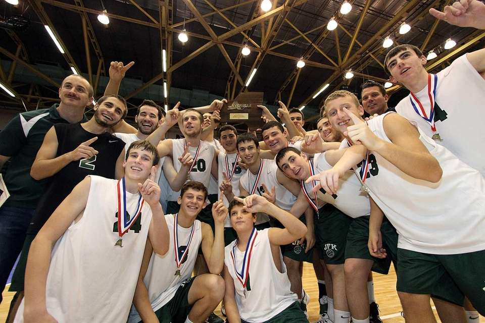 Bellmore JFK players celebrate after winning the Division