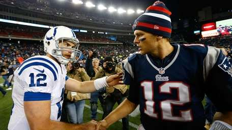 Andrew Luck of the Indianapolis Colts shakes hands