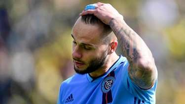 Maxime Chanot of New York City FC reacts