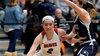 Syosset's Charlotte Twohig (2) drives the baseline against
