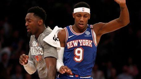 RJ Barrett of the Knicks celebrates his basket