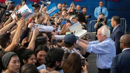 Bernie Sanders, seen in February at a high
