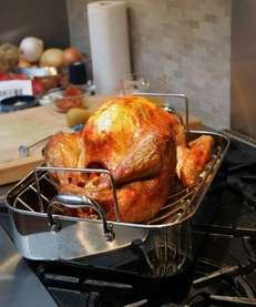 A turkey rests in the pan after being