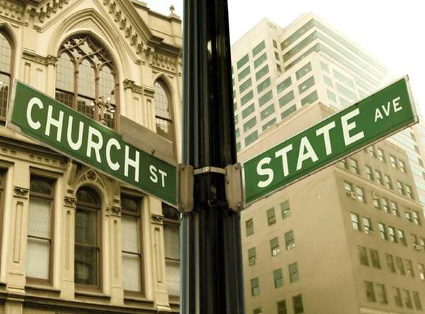 Church, state, Religion, Government, Spirituality, Conflict, Road Sign,