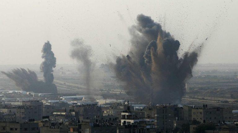 Smoke rises following an Israeli attack on smuggling