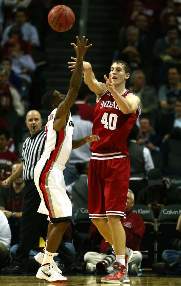Cody Zeller of the Indiana Hoosiers passes the