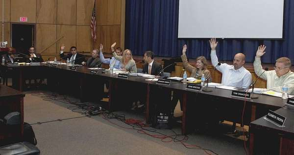 The Huntington School District Board of Education votes