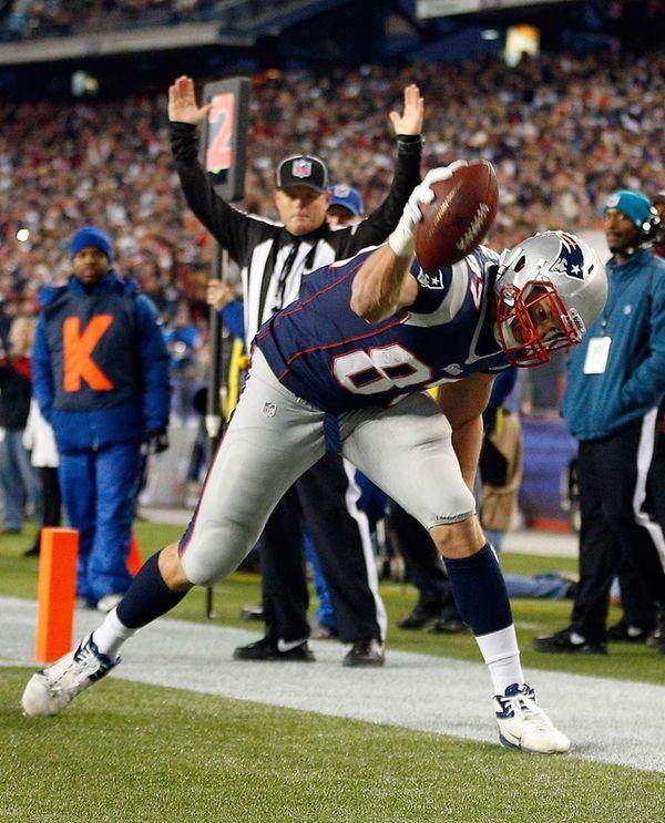 Rob Gronkowski of the New England Patriots celebrates