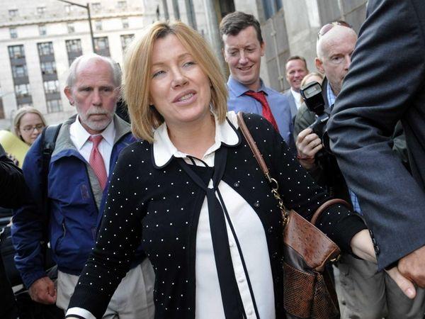 Anna Gristina exits Manhattan criminal court in Manhattan.