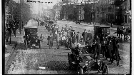 "Women's suffrage supporters, led by ""General"" Rosalie Jones"