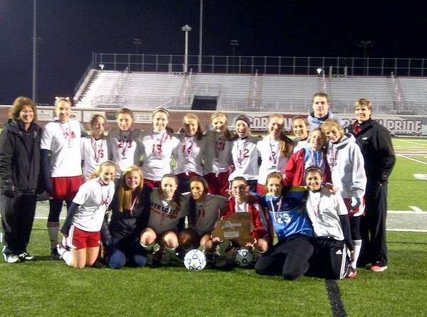 Jamesville-Dewitt's girls soccer team poses with state Class