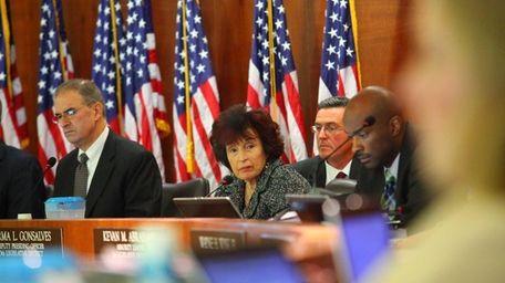 Nassau County Legislators during the budget vote in