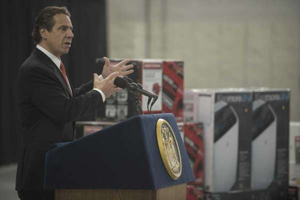 New York Gov. Andrew M. Cuomo announces a