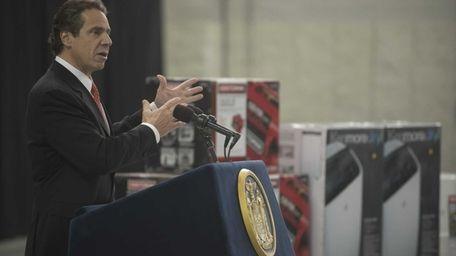 New York Gov. Andrew M. Cuomo announces a