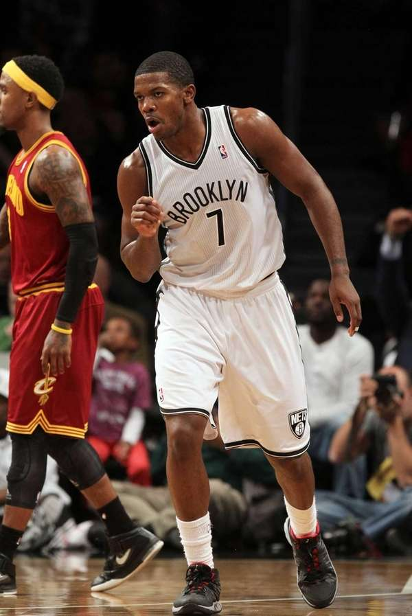 Joe Johnson reacts after hitting a 3-pointer in