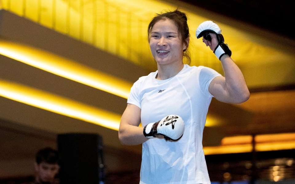 UFC women's strawweight champion Zhang Weili, of China,