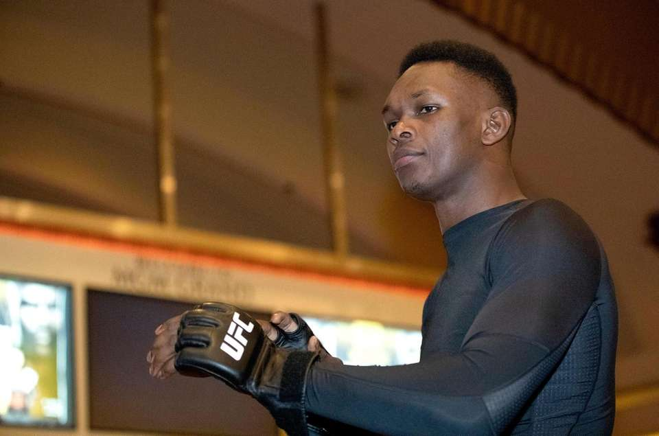 UFC middleweight champion Israel Adesanya, of Nigeria, prepares