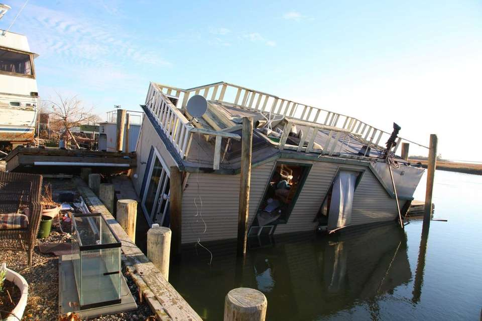 House barges on Ocean Avenue after superstorm Sandy