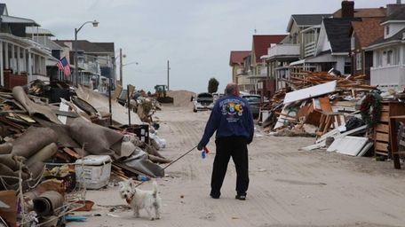 A man walks his dog along Illinois Avenue