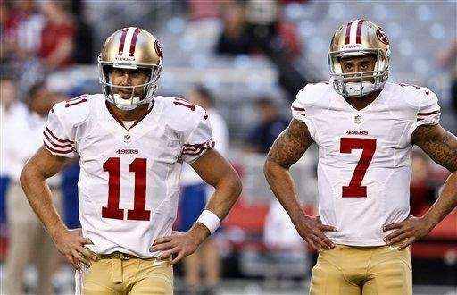 San Francisco 49ers quarterbacks Alex Smith (11) and