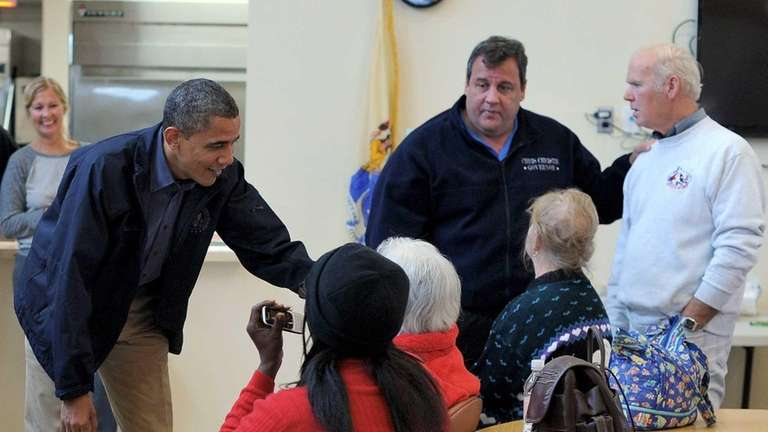 President Barack Obama and New Jersey Governor Chris
