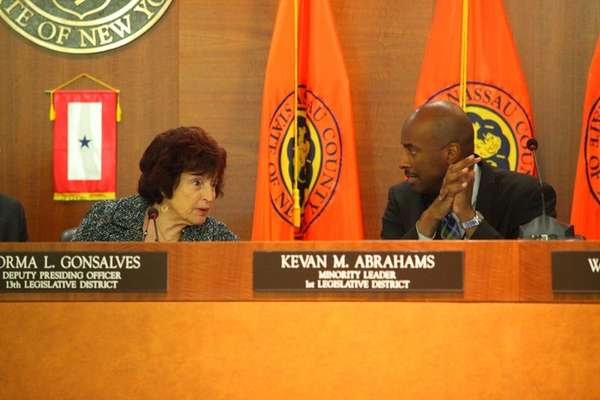 Legislators Norma Gonsalves and Kevan Abrahams during the