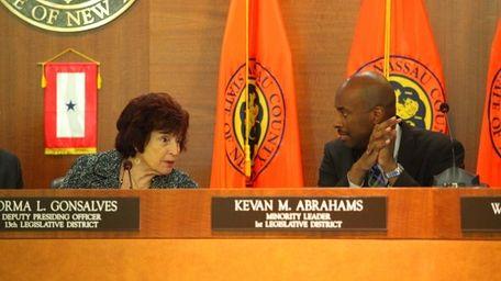 Legislators Norma Gonsalves and Kevan Abrahams during the