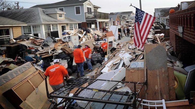 People with the charity group Samaritan's Purse help