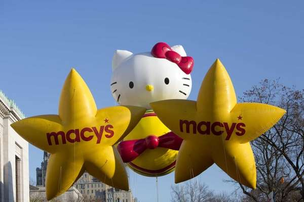 The 'Hello Kitty' balloon makes its way along