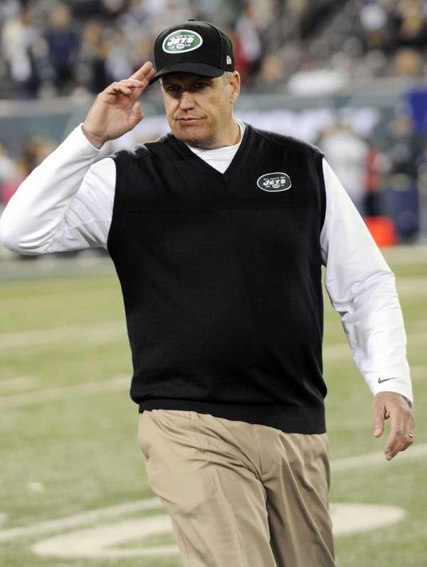 New York Jets head coach Rex Ryan gestures