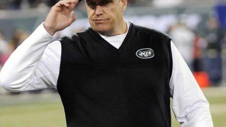 New York Jets head coach Rex Ryan gestures