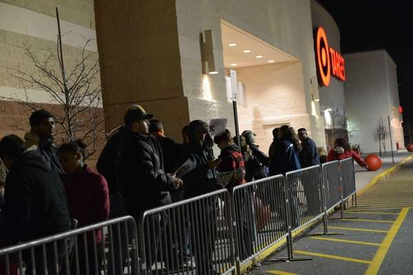 Shoppers line up outside the Target on Hempstead