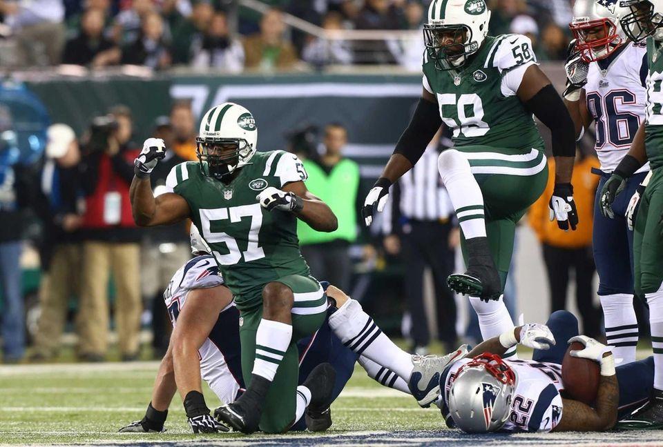 Bart Scott of the New York Jets celebrates