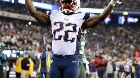 New England Patriots' Stevan Ridley celebrates after scoring