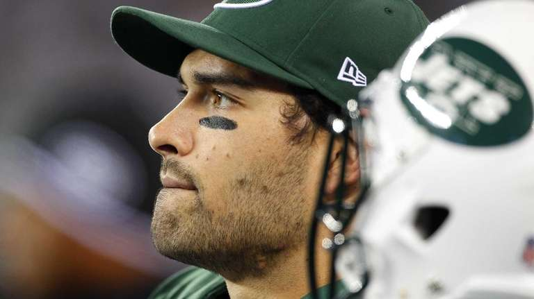 Mark Sanchez looks on near the end of