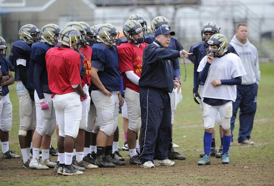 Baldwin head coach Steve Carroll directs his players