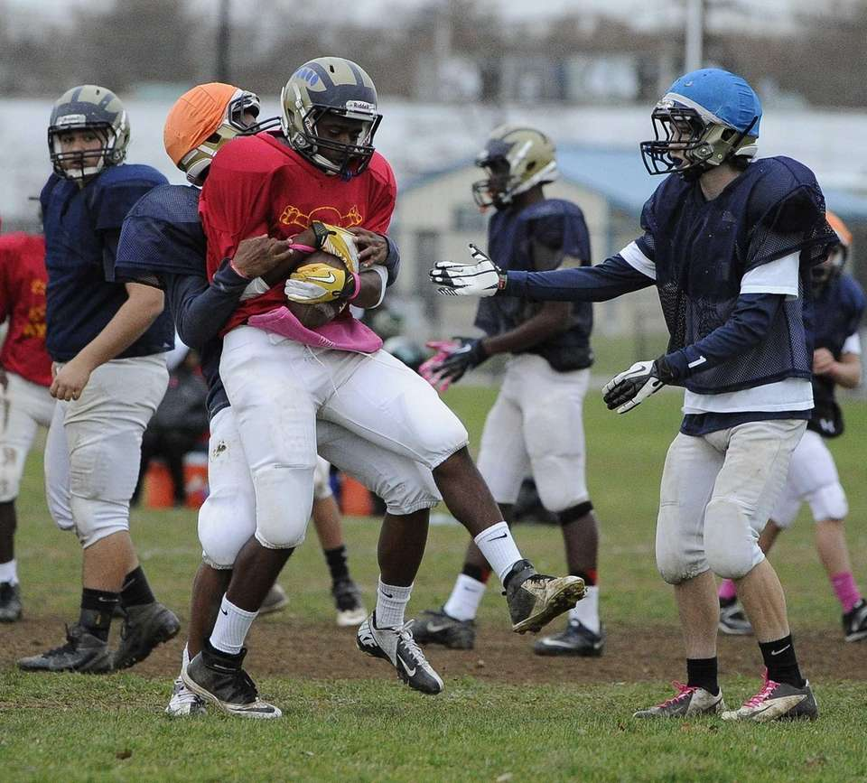 Baldwin WR/DB Travais Hylton protects the ball during