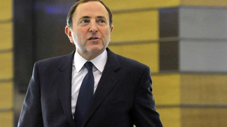 NHL Commissioner Gary Bettman leaves following labor talks