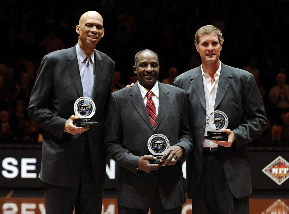 Kareem Abdul-Jabbar, left, David Thompson and Christian Laettner,