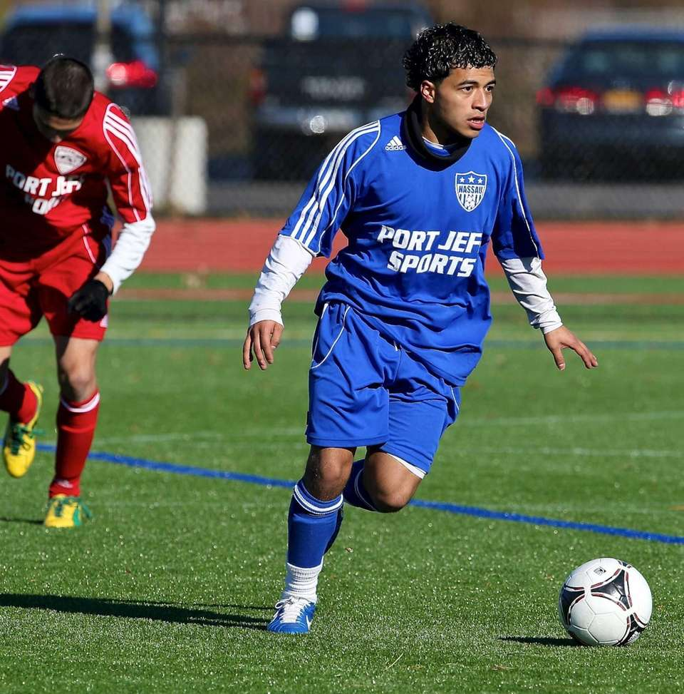 Nassau All-Star Ivan Saravia-Perez moves the ball out