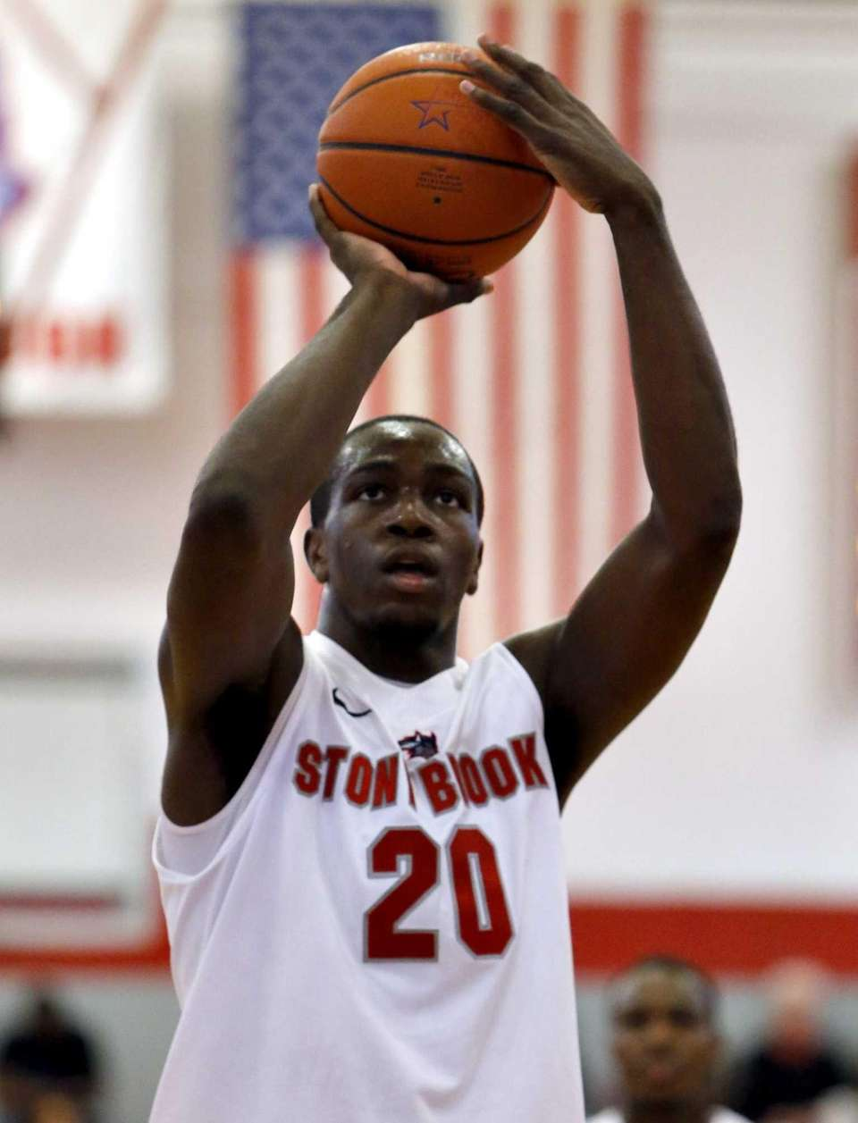 Stony Brook's Jameel Warney shoots a free throw