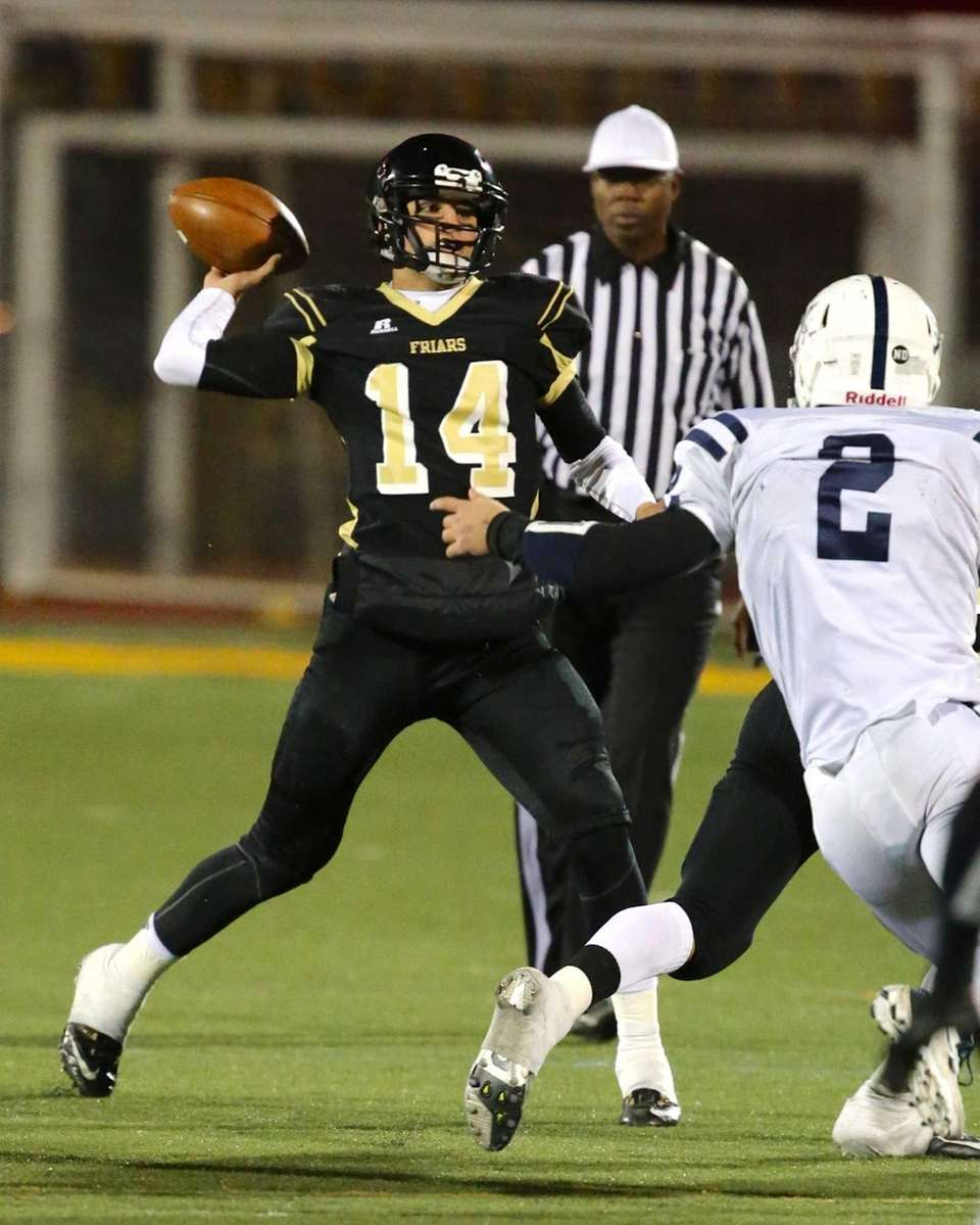 St. Anthony's quarterback Greg Galligan looks to pass