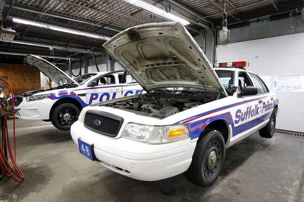 HAUPPAUGE - OCTOBER 12, 2012: Two police cruisers