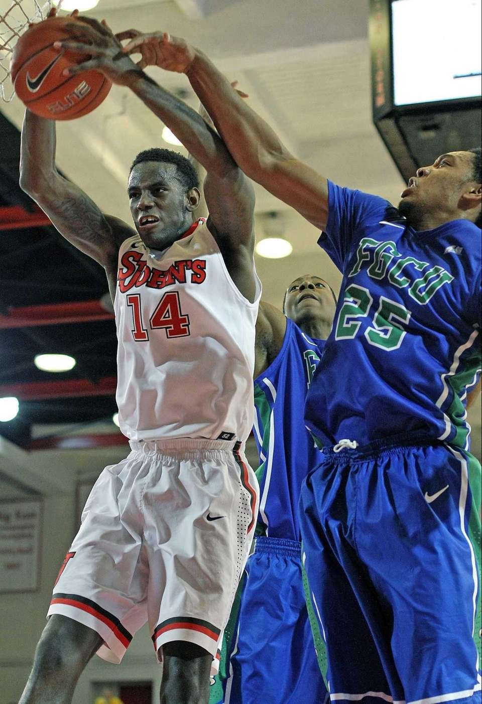 St John's JaKarr Sampson goes for the rebound