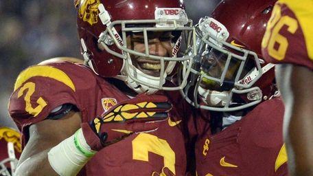 Robert Woods of the USC Trojans celebrates his