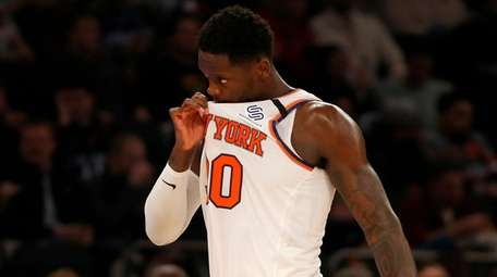 Julius Randle of the Knicks reacts during the